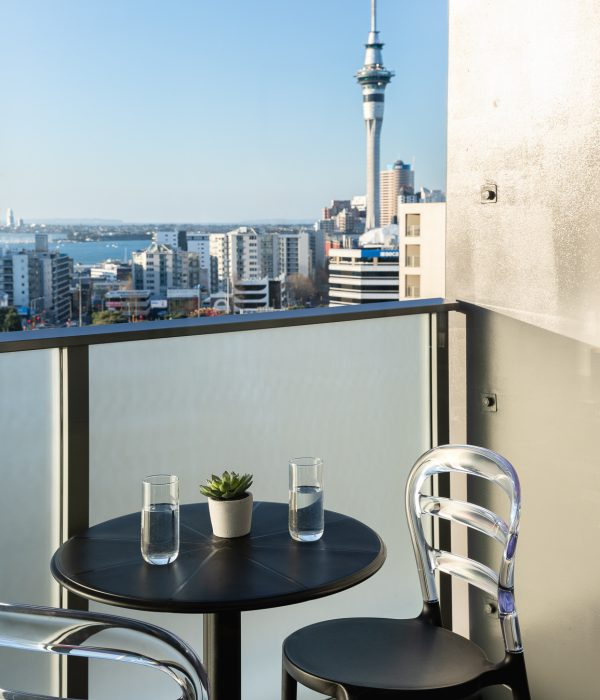 View of Auckland's SkyTower from Haka Hotel Suites balcony